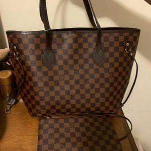 Louis Vuitton Neverfull Ebene Tote Bag Set 2pcs